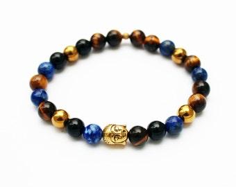 Mens bracelet - turqoise, onyx, tiger eye, hematit