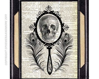 SKULL in a Mirror art print Goth Victorian Vanity on upcycled vintage dictionary book page black white anatomy humor wall decor 8x10, 5x7