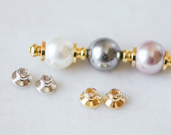 20pcs Gold/ Silver Bead Caps 5mm, Real Gold/ Rhodium plated Brass Spacers, Lead Nickel Free (GB-230)