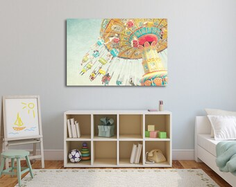 "Colorful Carnival Nursery Art, Children Decor, Girls Room Decor, Canvas Print, Carnival Home Decor, Pastel Art Print ""Spinning Wheel"""