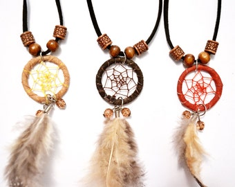 Dream Catcher Long Necklace - Tribal, Gypsy, Bohemian, Hippie, Feather, Statement Necklace