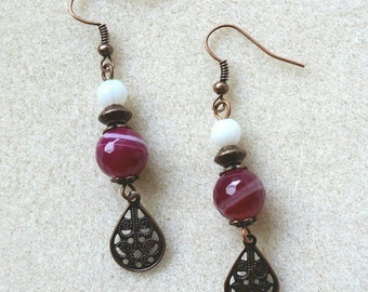 Copper and Pink Agate Earrings