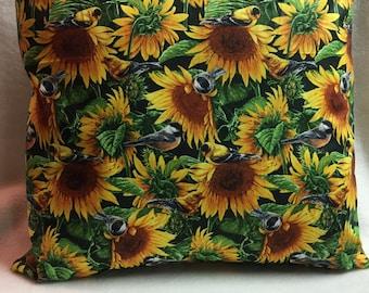 Birds and Sunflowers, Pillow 16 x 16 (#017)