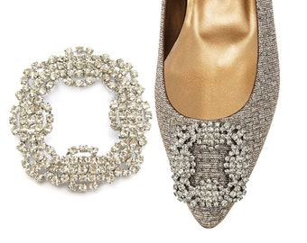 Crystal Rhinestone Bridal Shoe Clips - 1 pair, Ring Pillow, Bridesmaids Gift, Hair Jewelry RB-134 (approx 2 inch)