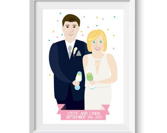 Custom Wedding Portrait, Wedding Gift, Bride and Groom Illustration, Anniversary Gift, Wedding Gifts, Wedding Anniversary, Valentines Gift