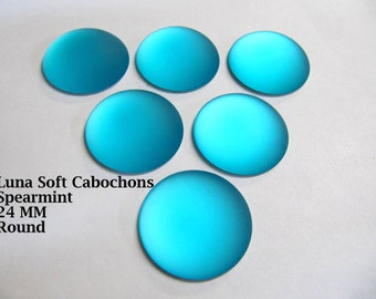 Cabochon, Luna Soft, 24 MM, Spearmint, Round, Wire Wrapping, Bead Embroidery, Bright Colors, Neon Color, Glow