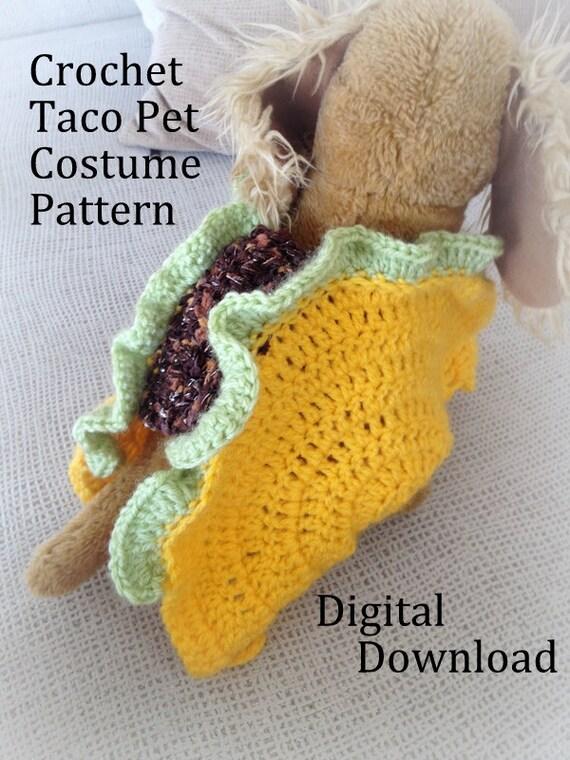 Taco Pet Costume Crochet Pattern, Taco Cat Crochet Pattern, Taco Dog ...