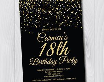 Birthday invitation templateprintable gold black birthday 18th birthday invitationprintable gold black birthday invitatione card invitation stopboris Image collections
