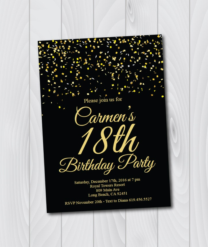 18th Birthday Invitation/Printable Gold & Black Birthday
