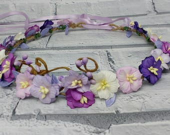 Purple mix hair garland, flower wreath, purple blossom crown, purple flower crown, woodland crown, floral headpiece, rustic crown, headdress