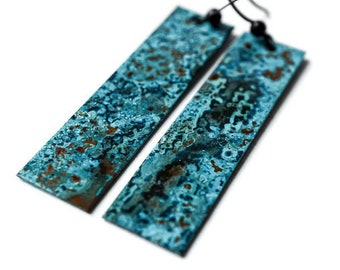 Blue Patina Earrings, Antiqued Copper Earrings, Artisan Earrings, Blue Turquoise Earrings, Long Earrings, Verdigris Earrings