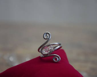 Silver ring with bicone crystals design Wedding Jewelry