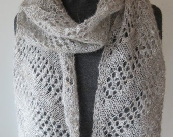 Silver Grey Alpaca Scarf, Hand spun and Handknitted with Lace Panels, handspun alpaca scarf