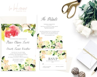 Printable Wedding Invitation Suite / Wedding Invite Set - The Fall Floral Suite
