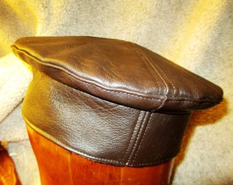 Leather Kufi Hat in Chocolate Brown, Golden Child, Unisex Men Leather Crown