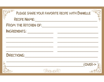 "40 Bridal Shower Recipe Cards   PERSONALIZED  - Brown - Tan -  4x6"" Size"