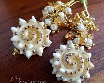 seashells ' Lampwork Glass lampwork earrings beads semi precious gold plated Pearl hessonite.