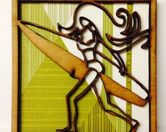Mini wooden wall art surfer girl with vintage 60s wallpaper background   surf girl surf chick surf art