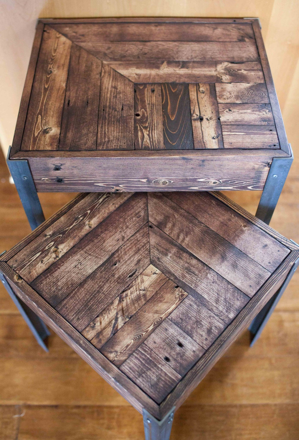 Pallet Wood And Metal Leg Nesting Tables