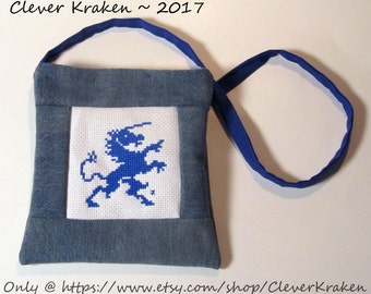Unicorn ooak handbag, cross-stitched in blue from vintage pattern, with up-cycled denim and blue cotton blend