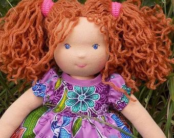 soft waldorf doll with clothes,  10-12 inch rag doll, small fabric doll, little textile doll, rag doll, soft doll, cloth doll, pocket doll