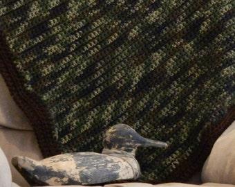 King Size Camo Blanket - Crochet Afghan - Crochet Blanket