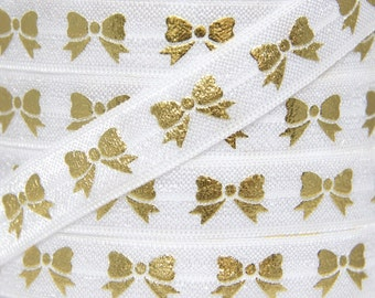 White and Gold Metallic Bow Print Fold Over Elastic - Elastic for Baby Headbands and Hair Ties - 5 Yards 5/8 inch Printed FOE