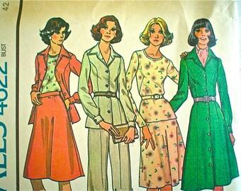 1970s Shirt-Dress Wardrobe Pattern McCall's 4622 Vintage Sewing Pattern Factory Folded Bust 42