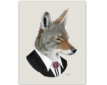 Coyote art print - Animal art - Nursery art - Nursery decor - Wall Art - Art Print - Children's art - Ryan Berkley Illustration 5x7