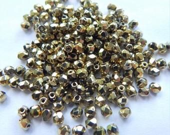 Firepolish 3mm Czech Glass Full Amber (100 beads)