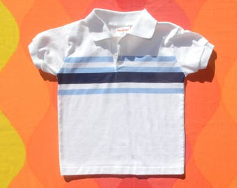 70s vintage golf shirt STRIPES polo white blue health tex kids youth children Small 6 80s