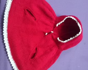 Hand-knitted vintage baby poncho with handholes 6-12 months