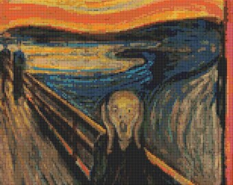 Abstract Cross Stitch Chart, The Scream Cross Stitch Pattern PDF, Edvard Munch, Embroidery Chart