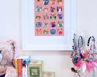owls nursery wall art owl decor baby girl nursery decor childrens art owl art pink wall art baby art girl nursery art owl nursery pink decor