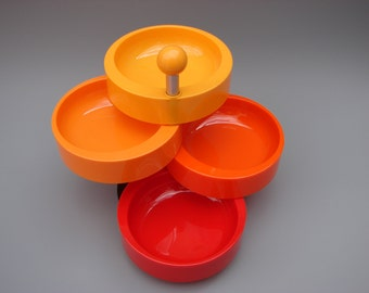 Seventies vintage Emsa Party-time Mid Century Modern design Pop-art snack tower party dishes West Germany Panton era