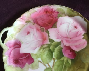 Beautiful 1900s Bavarian cake plate C Penet hand painted rose plate Bavaria plate German China USA Shipping is on Us at Everything Vintage!