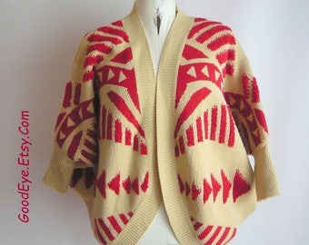 Amazing Cocoon Sweater Knit JACKET /  Red Khaki Beige THUNDERBIRD / one size small med large / Heavy Winter weight