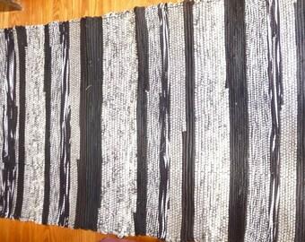 "Loom Woven Rag Rug 30 x 60"" Rectangular  Handmade Handwoven  Cotton  Rug  White and Black Ready to Ship"