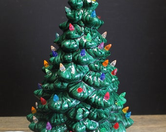 Vintage Lighted Ceramic Christmas Tree // Multi Colored Lights // 13 Inches // Star Base
