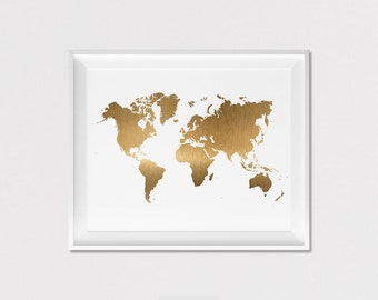 Gold world map etsy world map print poster wall art travel poster simulation of gold world map gift wall decor home decor artfilesvicky gumiabroncs Images