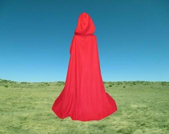 Red Cape Hooded Fleece Cloak- Halloween - Wedding - Costume - Renaissance