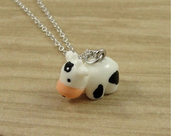 Cute Cow Charm Necklace, Cow Charm on a Silver Plated Cable Chain