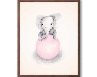 Baby Girl Nursery Decor, Pink and Gray, Nursery Art, Elephant Nursery Art, Kids Wall Art, Elephant Wall Art, New Baby Gift, E339N