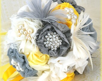 Brooch Bouquet, Ivory, Yellow, Silver, Gray, Pewter, Grey, Vintage Wedding, Elegant, Bridal, Jeweled, Feathers, Lace, Crystals, Pearls