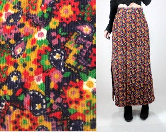 Corduroy 60s maxi skirt women XS/boho hippie psychedelic maxi/Vintage 70s 1970s skirt/pink red long floral 1960s skirt/daisy mod 60s dress