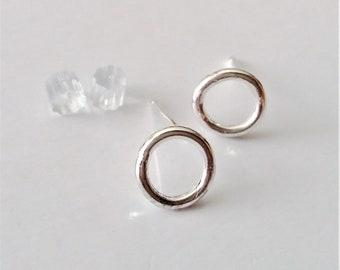 Small Circle Stud Earrings, Sterling Silver Post Earrings, Geometric Earrings, Little Studs.