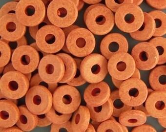 Greek Ceramic 8mm Disk Beads 16073 Orange Disc Beads, Narrow Beads, Spacer Beads, Large Hole Beads, Big Hole Beads, Ceramic Beads