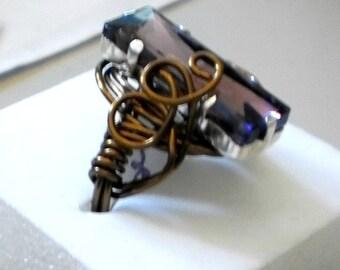 Amethyst Rhinestone Wrapped in Bronze Wire