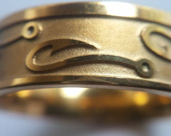 Stainless Steel Gold tone Fish hook Fisherman Men's / Women's Band Ring Fishhook  Size 6.5 to 13.5