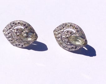 Vintage  Oval Silvertone Screwback Earrings with Marquee Crystal and tiny Clear Rhinestones and cut Design , Art Deco
